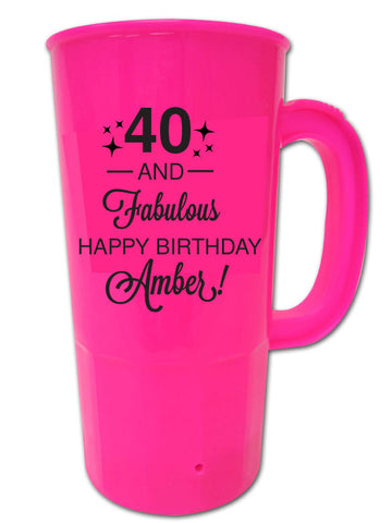 40th birthday party beer steins, 40 and fabulous