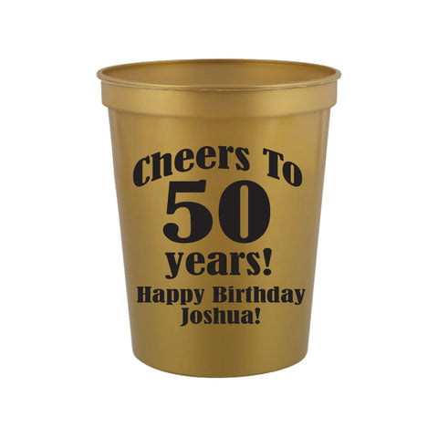 Personalized 50th birthday cups, cheers to 50 years cups