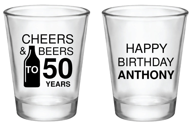 50th Birthday Shot Glasses Personalized Cheers And Beers