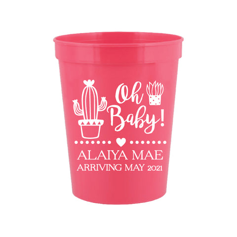 Cactus baby shower cups