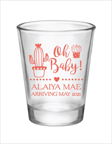 Cactus baby shower shot glasses