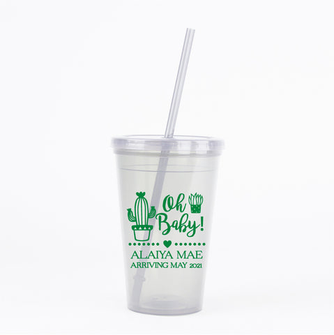 Cactus baby shower tumblers