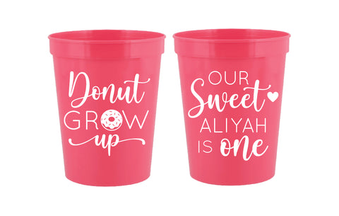 Personalized donut grow up birthday cups