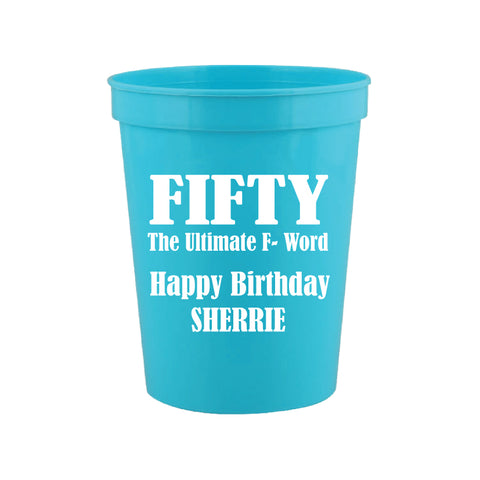 Personalized funny 50th birthday cups