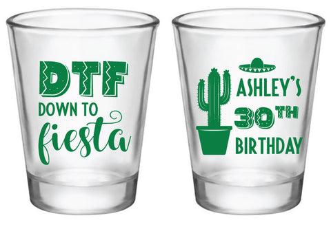 Personalized fiesta birthday shot glasses, DTF shot glasses
