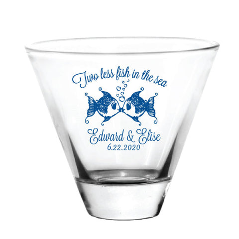Stemless martini glasses, two less fish in the sea, nautical wedding favors, personalized with your names and wedding date!