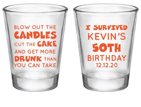 Personalized funny birthday shot glasses