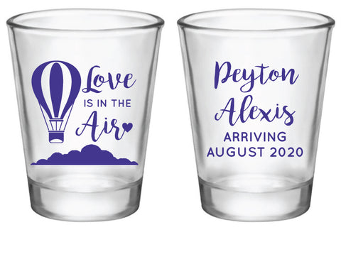 Love is in the air baby shower shot glasses
