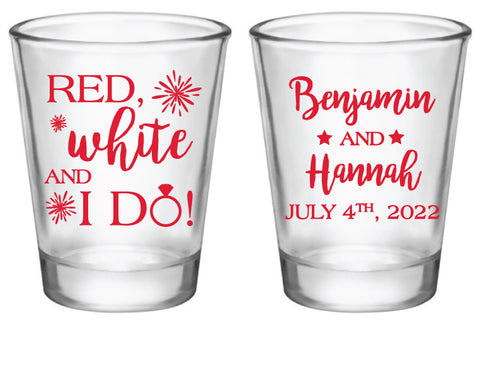 4th of July wedding shot glasses