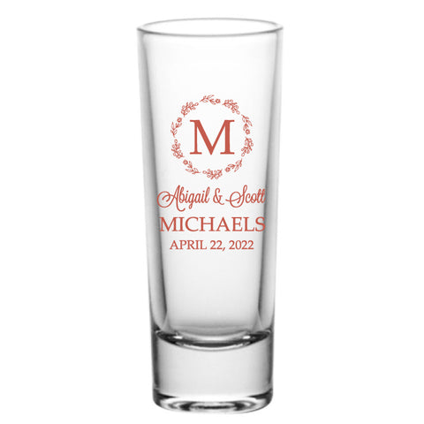 Floral monogram shot glasses- tall