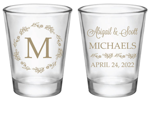 Floral monogrammed wedding shot glasses