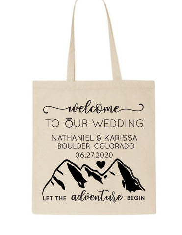 Mountain wedding welcome bags