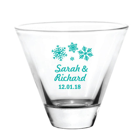Winter wedding, stemless martini wedding favors, personalized with your names and wedding date!