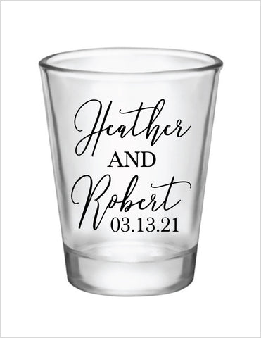 Wedding shot glasses- name and date