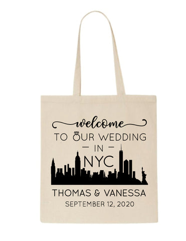 Personalized NYC wedding welcome bags