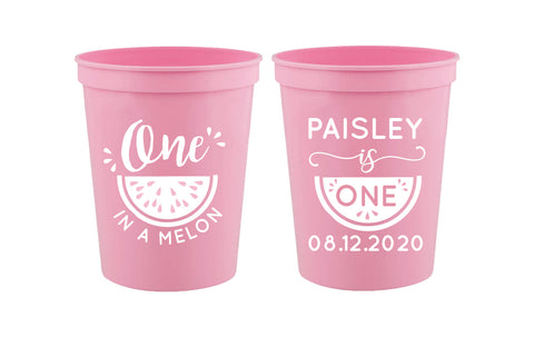Personalized one in a melon birthday cups, 1st birthday cups