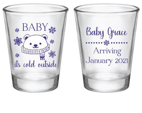 Baby It's cold outside shot glasses-Polar bear
