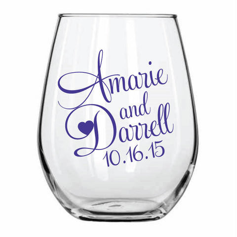 Personalized Stemless wine glasses, monogram design, personalized wedding favors with your names and wedding date