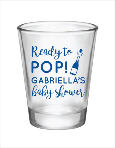 Ready to pop baby shower shot glasses