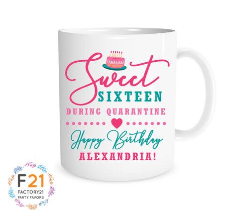 Personalized sweet 16 quarantine mug