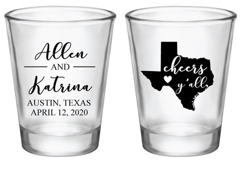 Personalized Texas wedding shot glasses
