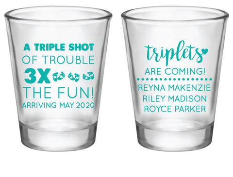 Triplet baby shower shot glasses