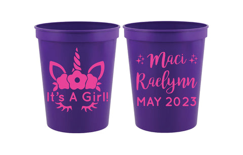 Unicorn baby shower cups