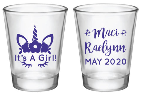 Unicorn baby shower shot glasses