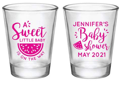 Personalized watermelon baby shower shot glasses favors
