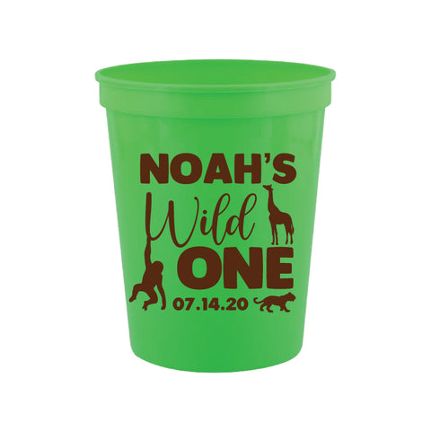 Personalized wild one 1st birthday cups