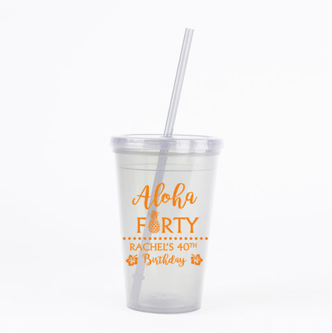 Aloha 40th birthday tumblers