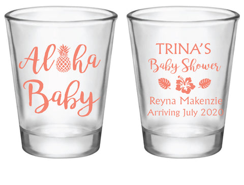 Aloha baby shower shot glasses
