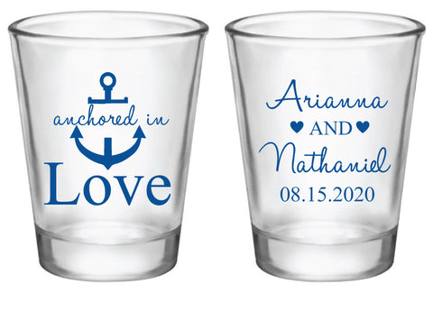 Anchored in love wedding shot glasses