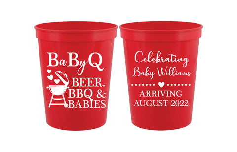 BBQ baby shower cups