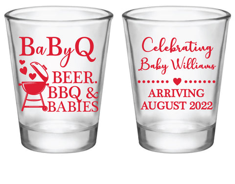 BBQ baby shower shot glasses