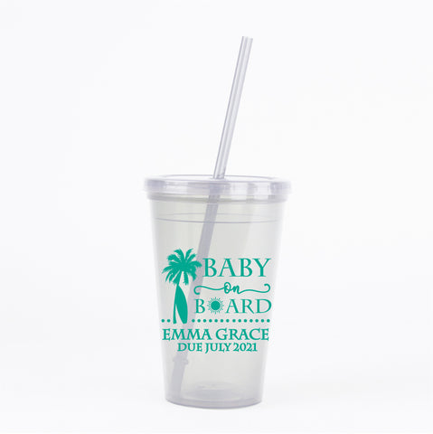 Beach baby shower tumblers