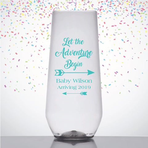 Boho baby shower champagne flutes, baby shower favors, let the adventure begin design, budget friendly favors