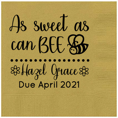 Bumblebee baby shower napkins