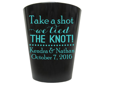 Black plastic shot glasses, personalized wedding favors, take a shot we tied the knot, budget friendly favors