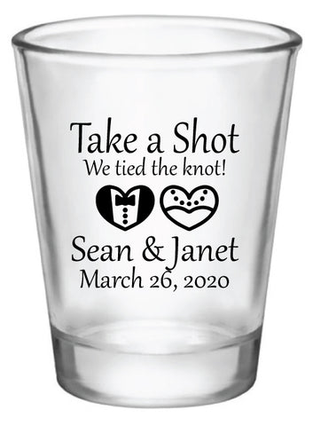 wedding shot glasses, take a shot we tied the knot, personalized shot glasses