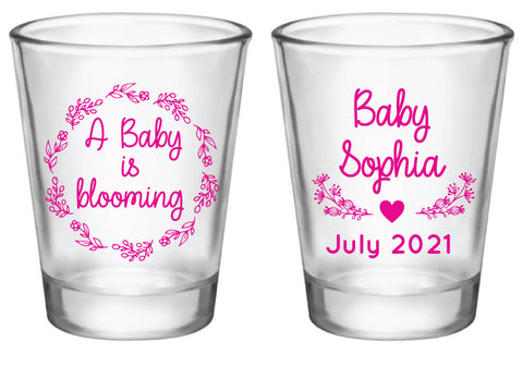 Personalized baby shower shot glasses, a baby is blooming