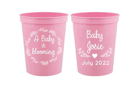 A baby is blooming- baby shower cups