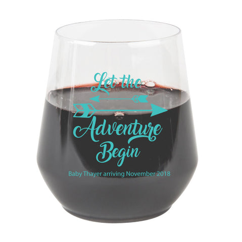 baby shower stemless wine glasses, boho baby shower, let the adventure begin, budget friendly wedding favors