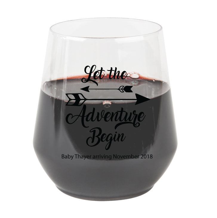 40cd19a4599 baby shower stemless wine glasses, boho baby shower, let the adventure  begin, budget friendly wedding favors