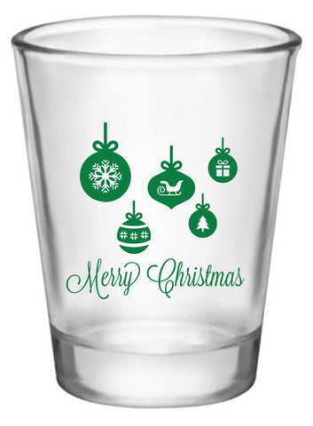 Merry Christmas holiday shot glasses
