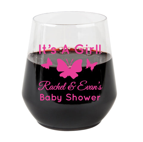 Plastic wine glasses- butterfly baby shower