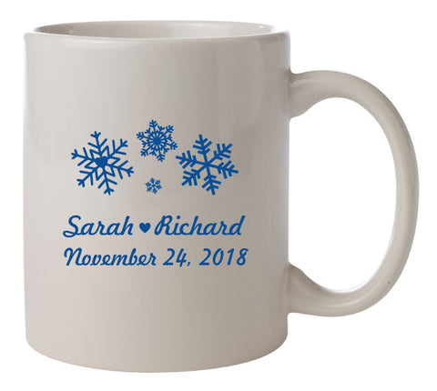 winter wedding coffee mugs, personalized wedding mugs, winter wedding snowflake design