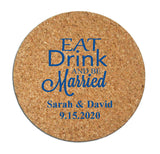 Personalized cork coasters, cork coaster wedding favors