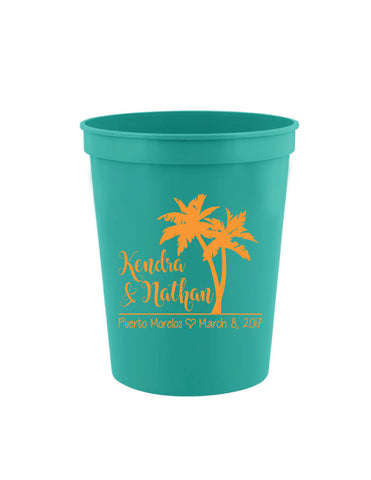 Palm tree wedding cups