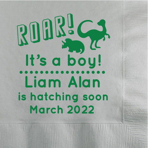 Dinosaur baby shower napkins